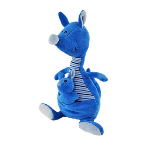 KANGAROO WITH JOEY BLUE BABY SAFE SOFT PLUSH TOY BY ELKA