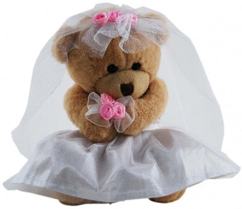 BRIDE TEDDY BEAR WEDDING SOFT PLUSH TOY ELKA