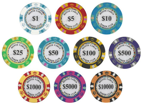 Monte Carlo 14 Gram Poker Chip Sample - 10 Chips - Better Buy Now Games Australia
