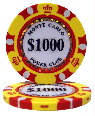 $1000 Monte Carlo 14 Gram Poker Chips - Roll of 25