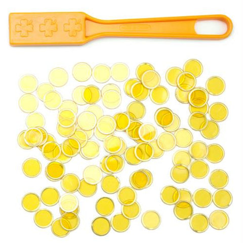 Yellow Magnetic Bingo Wand with 100 Metallic Bingo Chips - Better Buy Now Games Australia