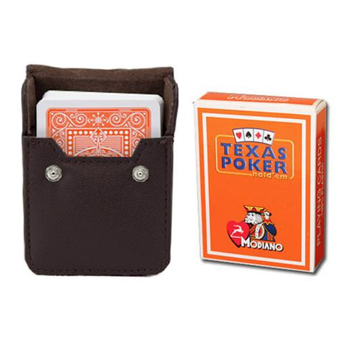 Orange Modiano Texas, Poker-Jumbo Cards w- Leather Case - Better Buy Now Games Australia