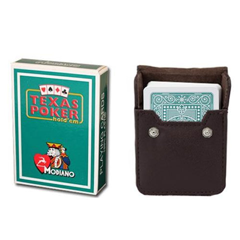 Dark Green Modiano Texas, Poker-Jumbo Cards w- Leather Case - Better Buy Now Games Australia