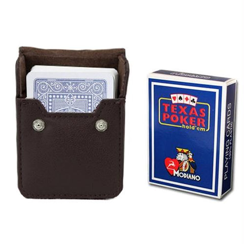 Blue Modiano Texas, Poker-Jumbo Cards w- Leather Case