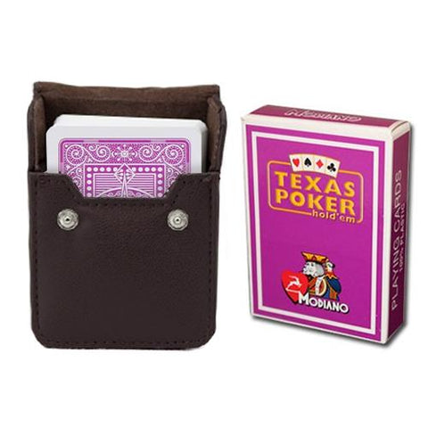 Purple Modiano Texas, Poker-Jumbo Cards w- Leather Case