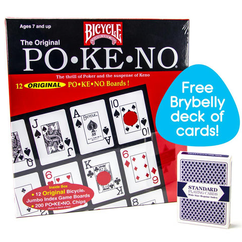 Bicycle Pokeno Original - Po-Ke-No with Deck of Playing Cards, Red or Blue