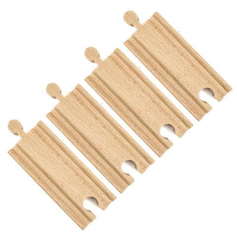 (4) 3.5 Inch Straight Wooden Train Tracks by Conductor Carl - Better Buy Now Games Australia