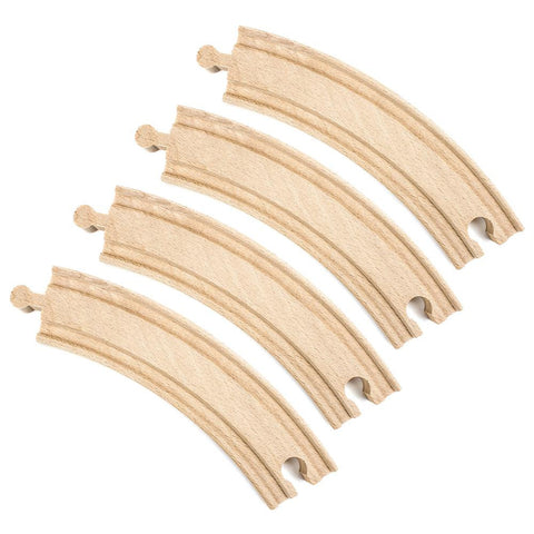 (4) 6 Inch Curved Wooden Train Tracks by Conductor Carl - Australia only - Better Buy Now Games Australia