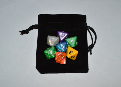7 x D8 Polyhedral Dice in mixed colors no 2 - with Black Velvet bag