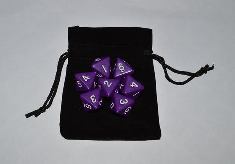 7 x D8 Polyhedral Dice in one color - Purple - with Black Velvet bag