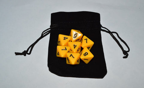 7 x D8 Polyhedral Dice in one color - Yellow - with Black Velvet bag
