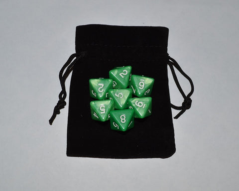 7 x D8 Polyhedral Dice in one color - Green - with Black Velvet bag