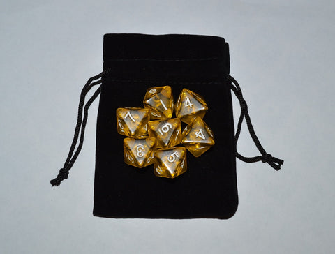 7 x D8 Polyhedral Dice in one color - Yellow Translucent - with Black Velvet bag