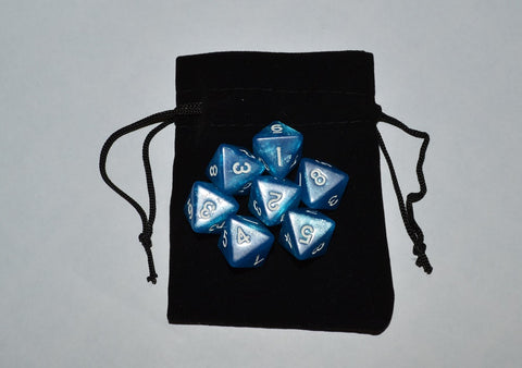 7 x D8 Polyhedral Dice in one color - Blue - with Black Velvet bag