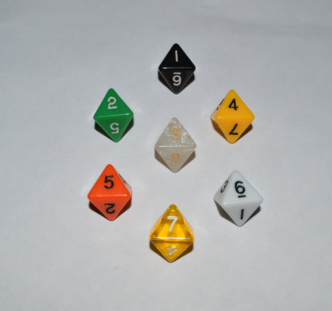 7 x D8 Polyhedral Dice in mixed colors no 3 - with Black Velvet bag