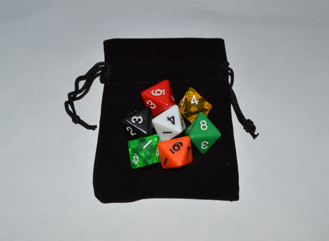 7 x D8 Polyhedral Dice in mixed colors no 4 - with Black Velvet bag