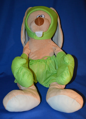 GIANT BOXING BUNNY PLUSH TOY - GREEN 60cm
