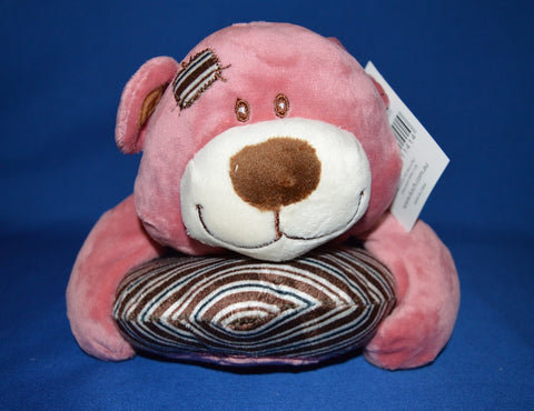 Ruby Teddy Bear Lying with Heart Pillow Pink 29cm
