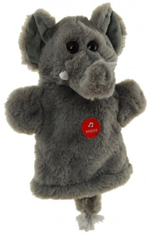 ELEPHANT HAND PUPPET W/SOUND soft plush toy by Elka