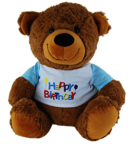 BEAR TAN W/SHIRT HAPPY BIRTHDAY BLUE - 30cm ELKA AUSTRALIA