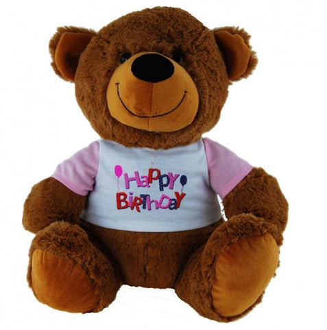 BEAR TAN W/SHIRT HAPPY BIRTHDAY PINK - 30cm ELKA AUSTRALIA