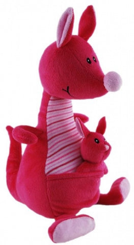 KANGAROO WITH JOEY PINK BABY SAFE SOFT PLUSH TOY BY ELKA