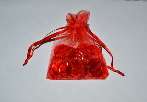 50 Red Bingo Chips Premium in Red Organza pouch - Australia only