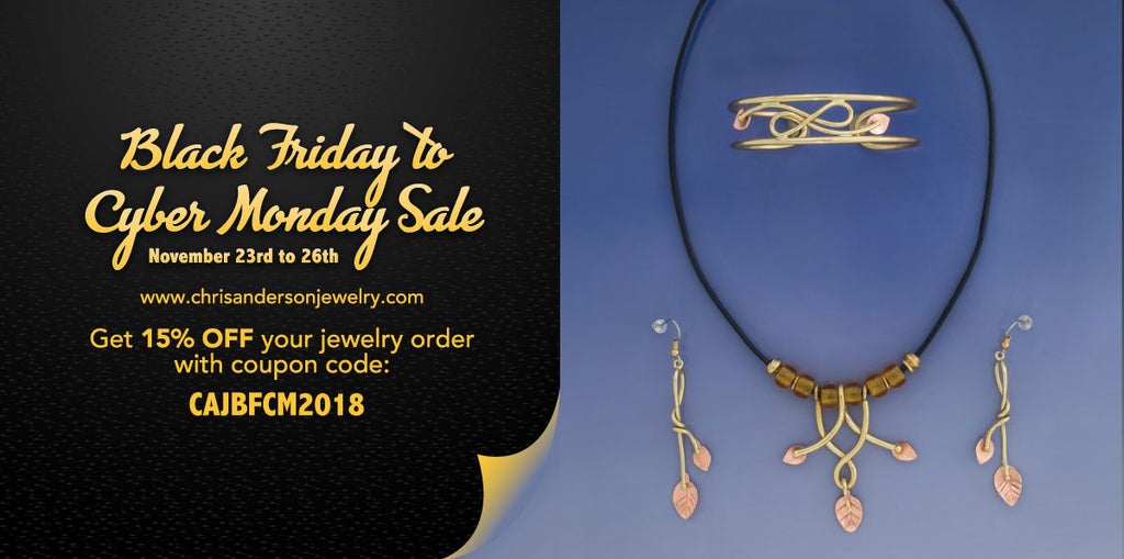 15% OFF Sale on all Jewelry from Black Friday Through Cyber Monday