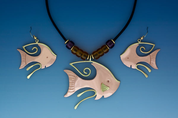Angel fish copper & brass, necklace & earrings jewelry set