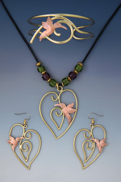 Bird Heart copper & brass, necklace, earrings & bracelet jewelry set