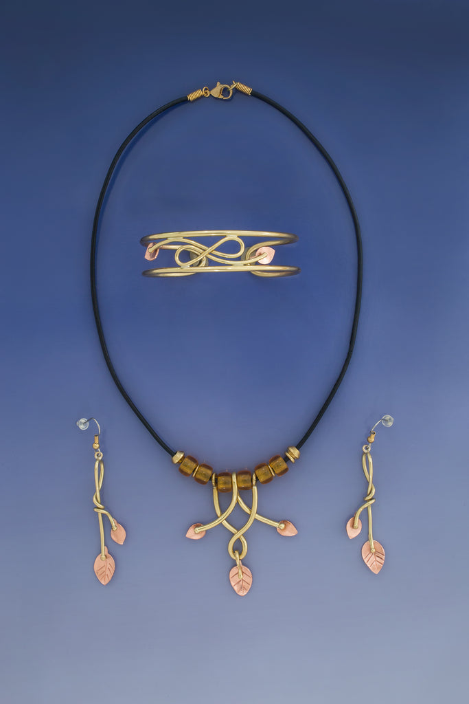 Curve Effect Necklace, Earrings & Bracelet: Copper & Brass Jewelry Set