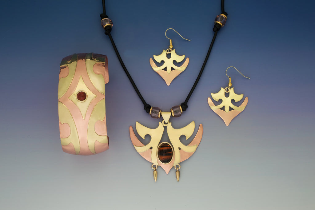 Europa copper & brass necklace, earrings & bracelet jewelry set