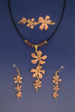 Hibiscus Vine Necklace, Earrings & Bracelet: Copper & Brass Jewelry Set