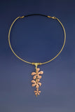 Hibiscus Vine on Wire Necklace, Earrings & Bracelet: Copper & Brass Jewelry Set