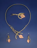 Lily on Wire Necklace, Earrings & Bracelet: Copper & Brass Jewelry Set