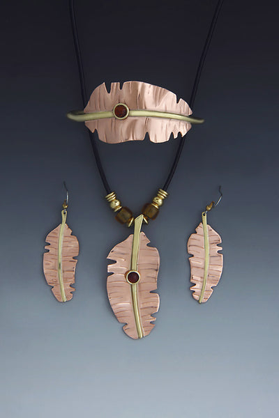 Banana brass & copper necklace, earrings & bracelet jewelry set