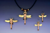 Dragon Fly brass & copper, necklace, earrings & bracelet jewelry set