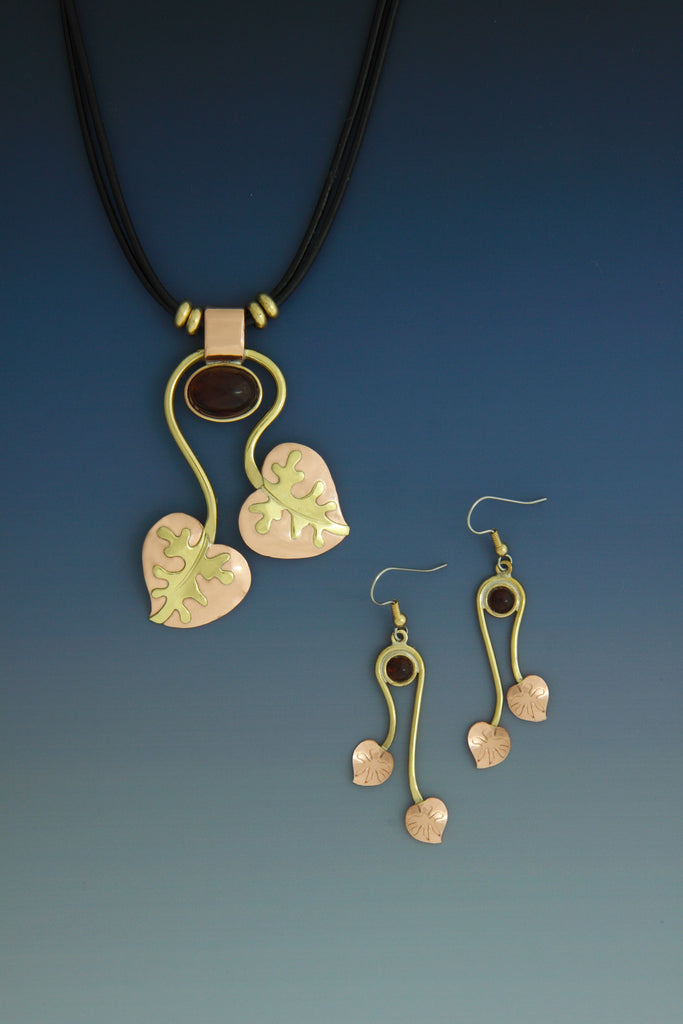 Grapevine copper and brass necklace and earrings jewelry set
