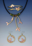 Grass copper and brass necklace, earrings and bracelet jewelry set