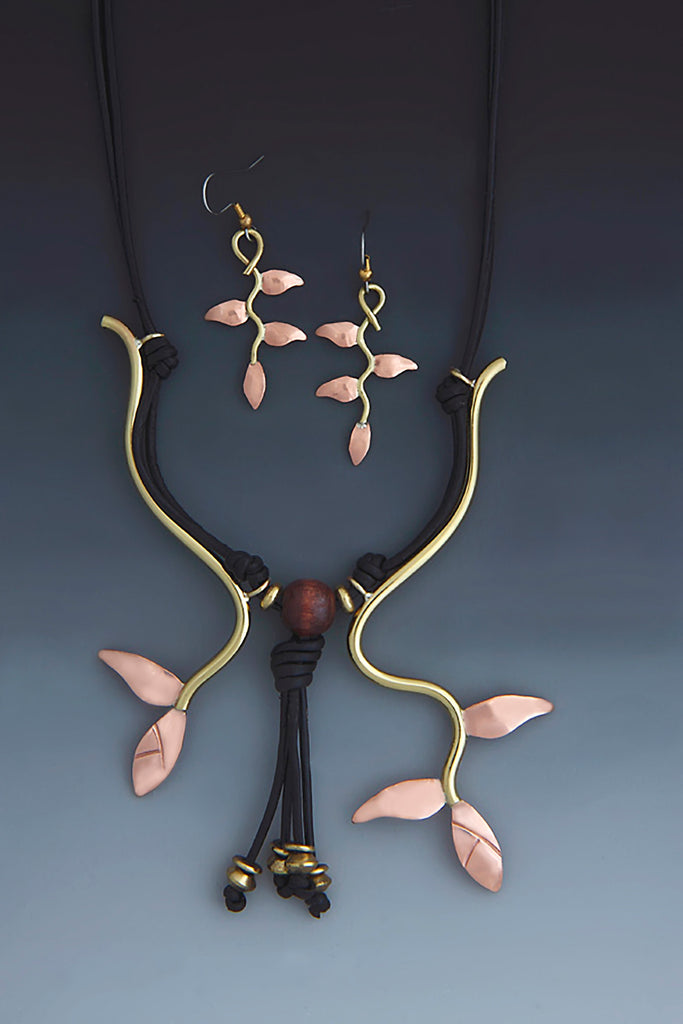 Heliconia Leaf copper and brass necklace and earrings jewelry set