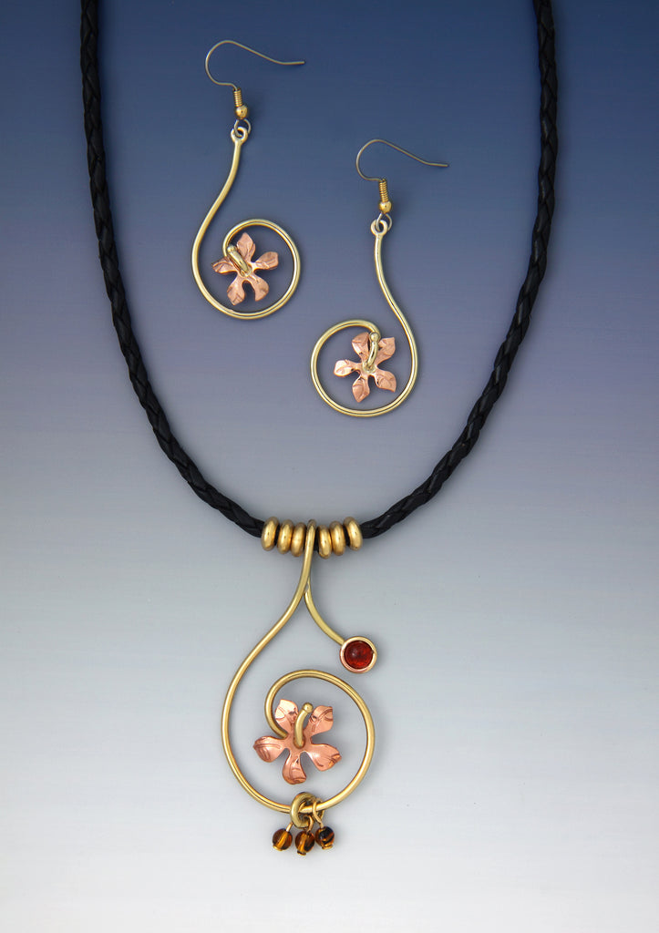Hibiscus Coil Flower copper and brass necklace and earrings jewelry set