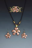 Hibiscus Flower copper and brass necklace, earrings and bracelet jewelry set