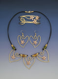 Hibiscus heart copper and brass necklace, earrings and bracelet jewelry set