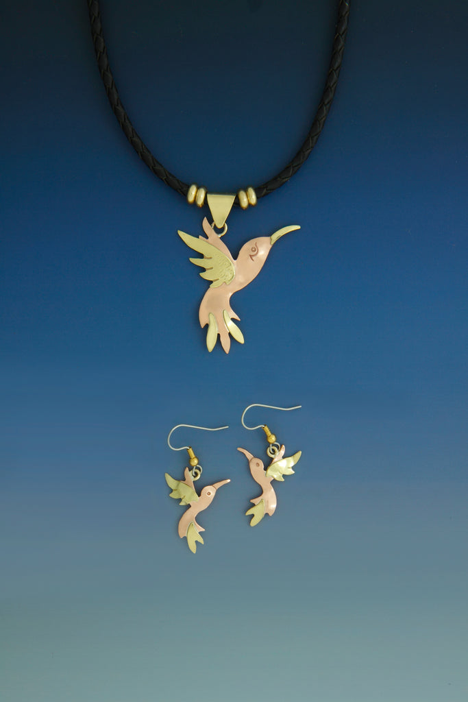 Humming Bird copper and brass necklace and earrings set