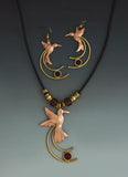 Humming Bird with Tail copper and brass necklace and earrings jewelry set