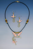 Humming Bird Wire copper and brass necklace and earrings jewelry set
