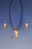 Jah Bird copper & brass, necklace & earrings jewelry set