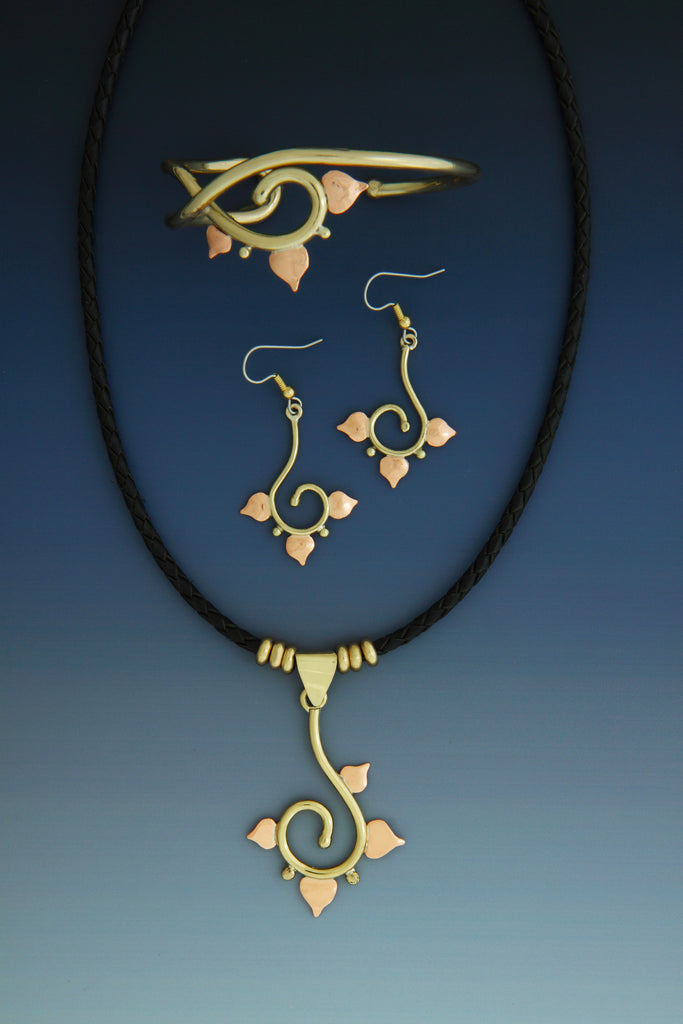 Petal copper and brass necklace, earrings and bracelet jewelry set