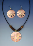 Sand Dollar copper and brass necklace and earrings jewelry set