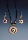 Shell Form copper and brass necklace and earrings jewelry set